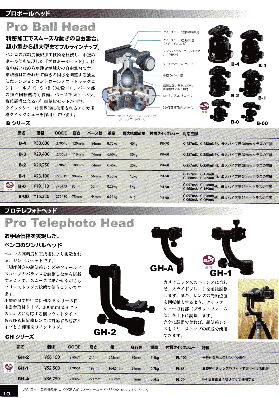 デジタル一眼レフカメラ比較・選び方入門 デジ一.com BENRO(ベンロ)2010年カタログ P010(自由雲台 ジンバル雲台)