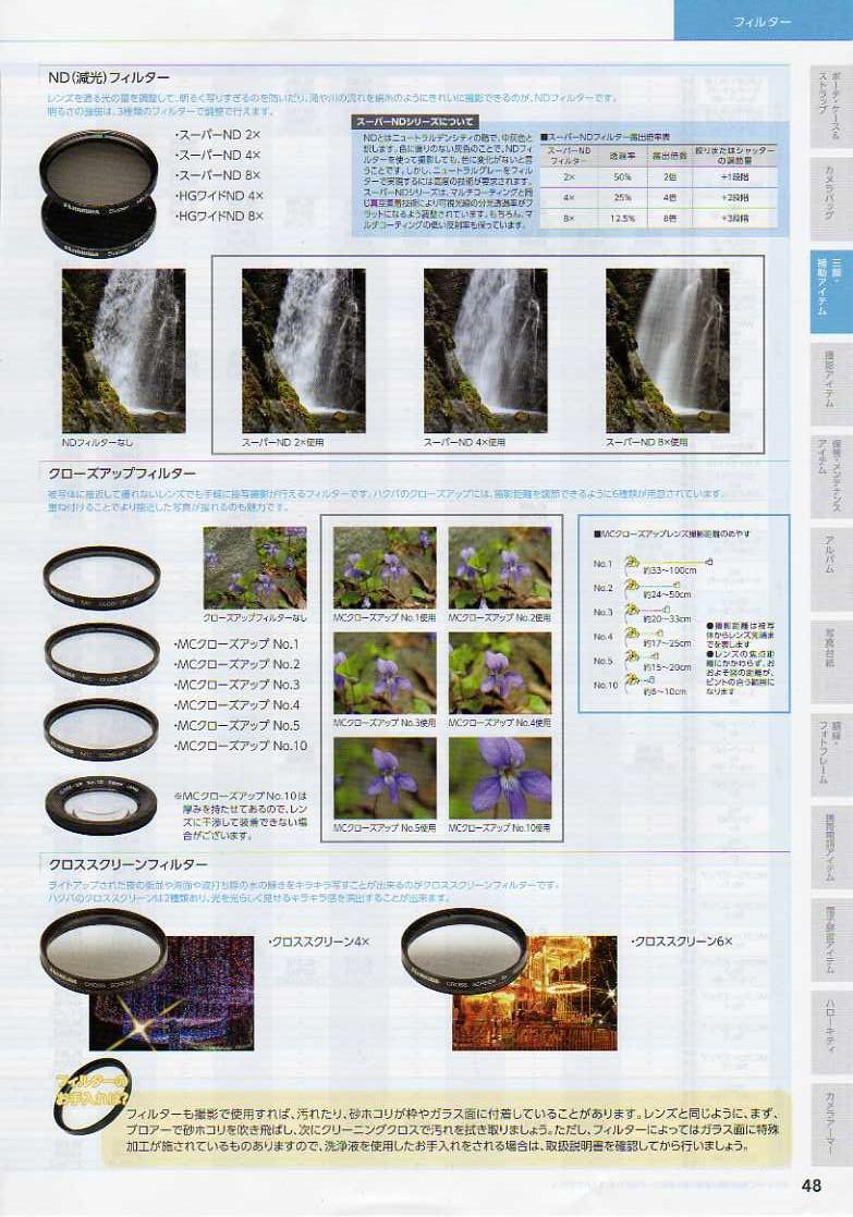 HAKUBA(ハクバ)2010年カタログ カメラ用交換レンズフィルター カメラ交換レンズフィルター:フィルター機能解説(減光フィルター/NDフィルター クローズアップフィルター クロススクリーンフィルター)