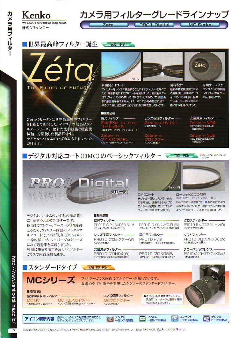 KENKO(ケンコー)最新カタログ カメラ用交換レンズフィルター カメラ交換レンズフィルター分類解説