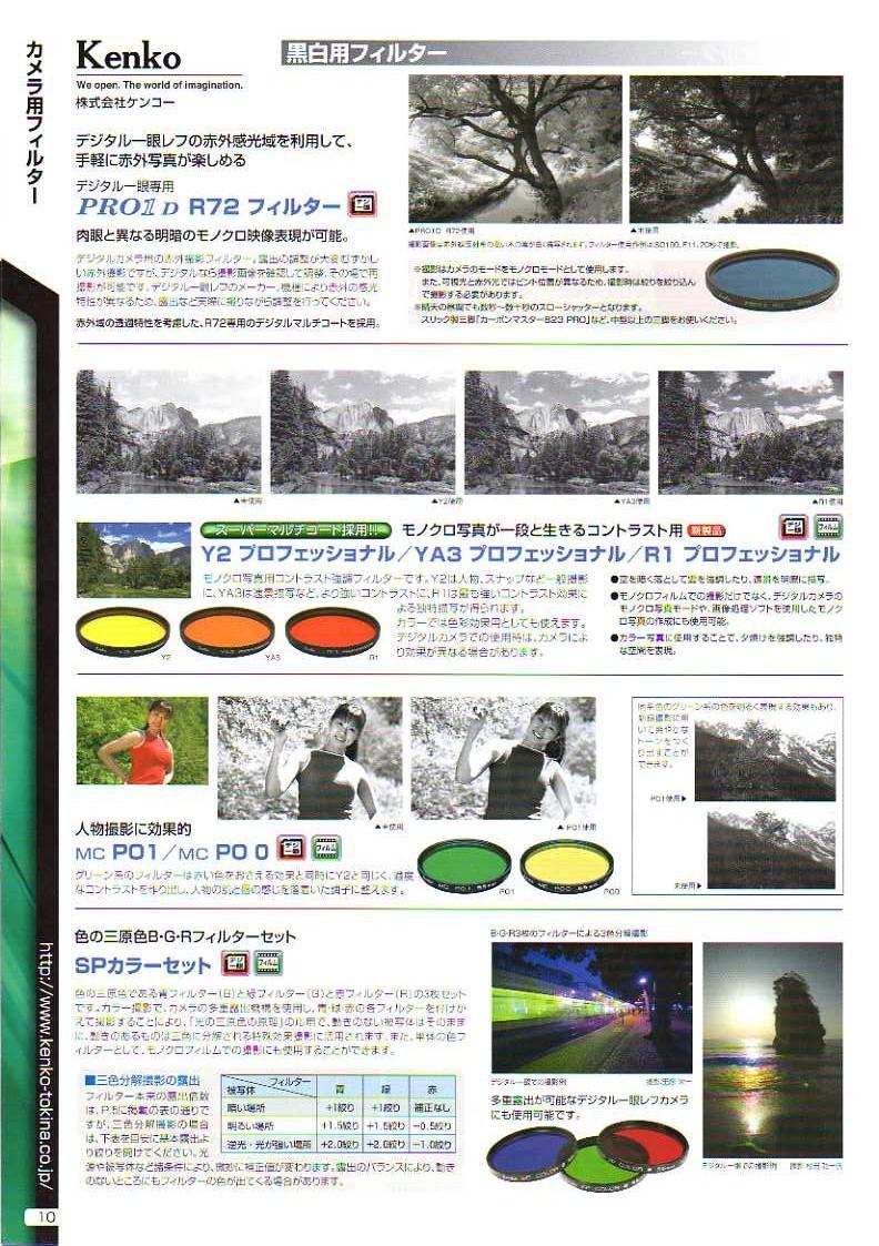 KENKO(ケンコー)最新カタログ カメラ用交換レンズフィルター カメラ交換レンズ用 黒白用フィルター