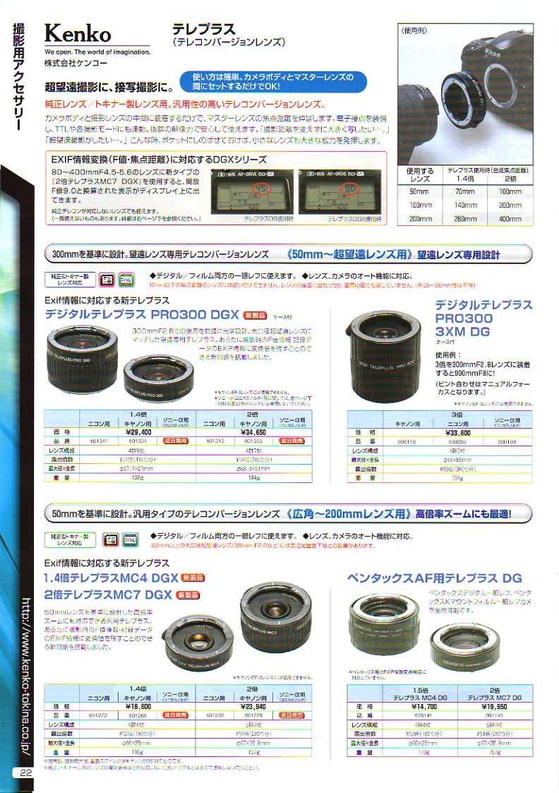 デジタル一眼レフカメラ比較・選び方入門 デジ一.com KENKO(ケンコー)最新カタログ P022