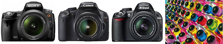 初心者用デジタル一眼レフカメラ比較入門ベスト4 左からSONY α55 CANON EOS KissX4 NIKON D3100 PENTAX K-r