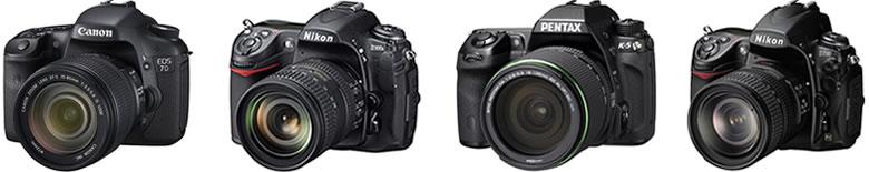 デジタル一眼レフカメラ比較ランキングベスト4 左からCANON EOS 7D NIKON D300s PENTAX K-5 NIKON D7000