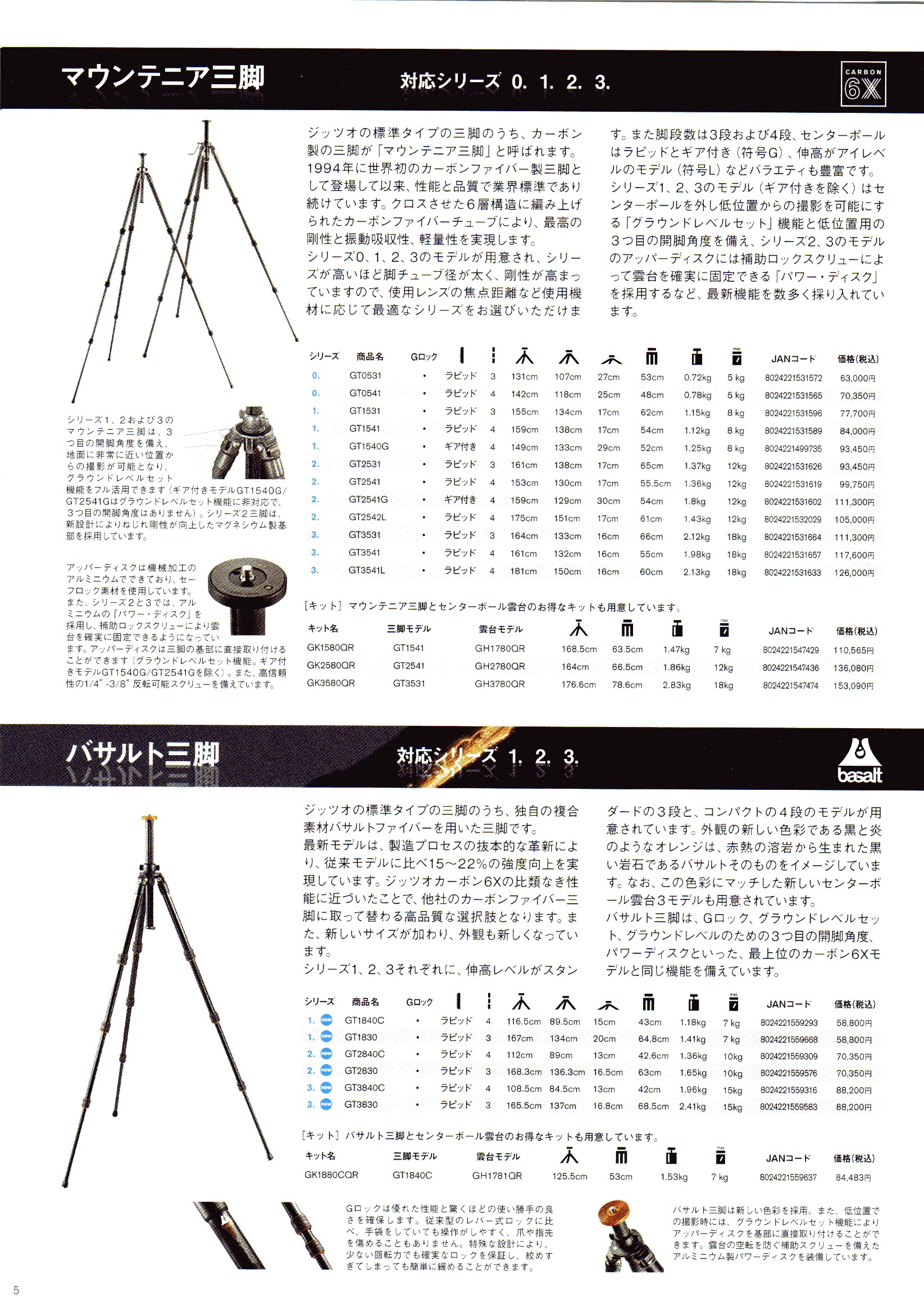デジタル一眼レフカメラ比較・選び方入門 デジ一.com GITZO(ジッツオ/ジッツォ)最新カタログ P005(三脚)