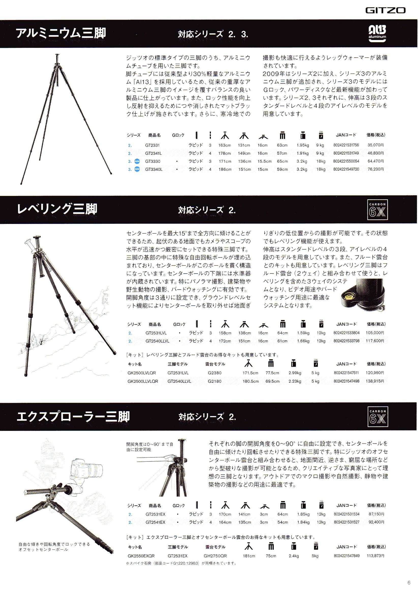 デジタル一眼レフカメラ比較・選び方入門 デジ一.com GITZO(ジッツオ/ジッツォ)最新カタログ P006(三脚)