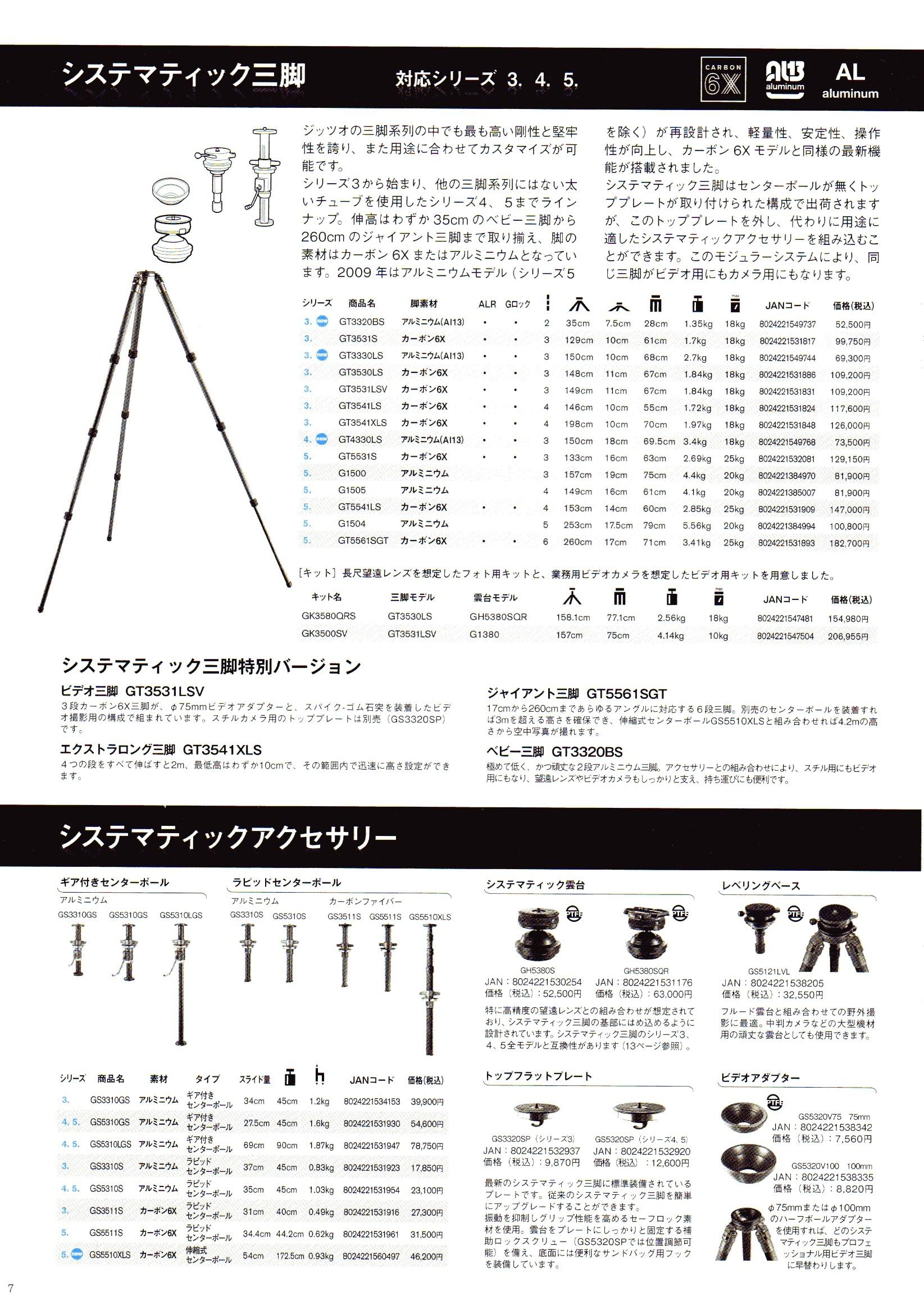 デジタル一眼レフカメラ比較・選び方入門 デジ一.com GITZO(ジッツオ/ジッツォ)最新カタログ P007(三脚)