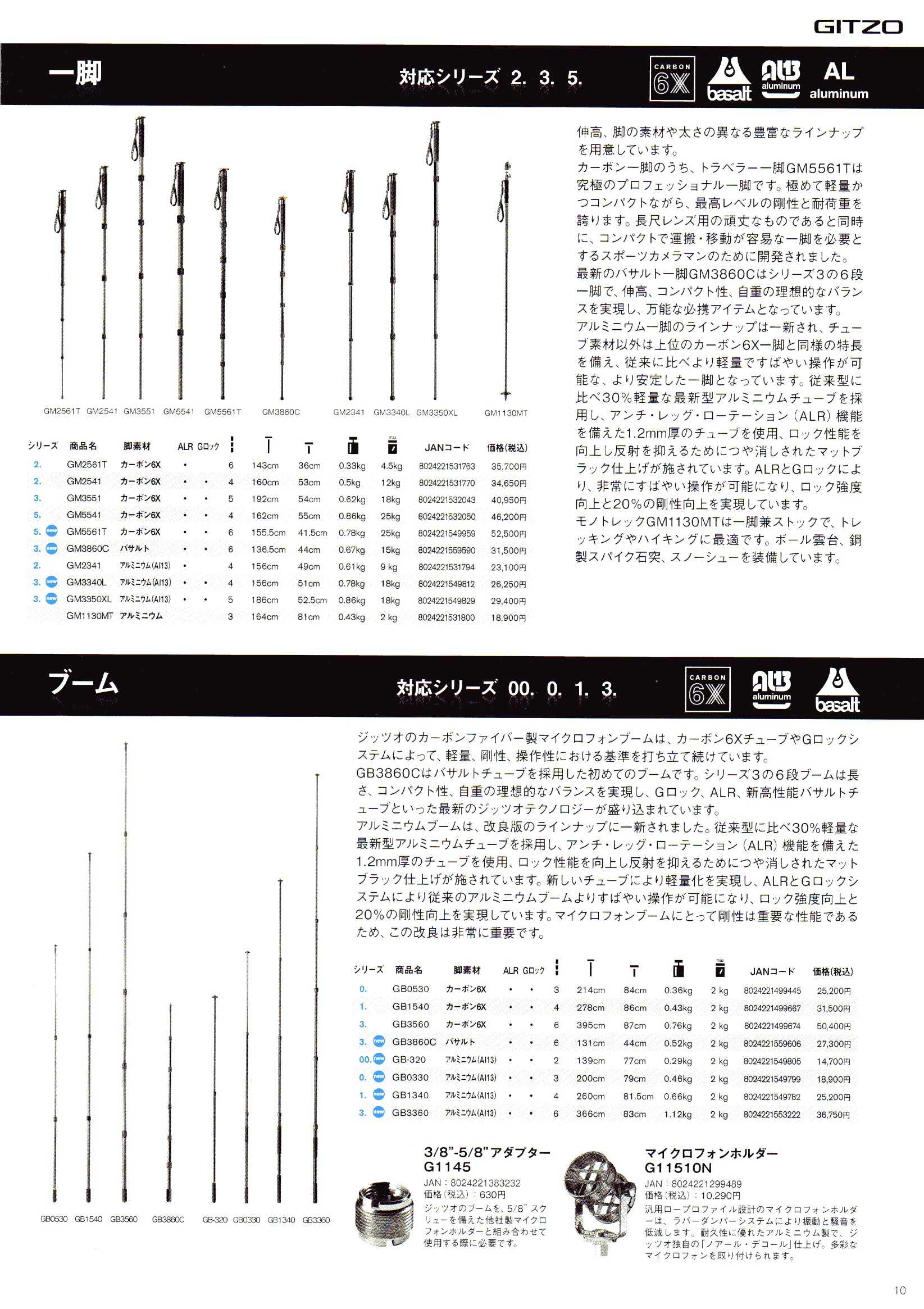デジタル一眼レフカメラ比較・選び方入門 デジ一.com GITZO(ジッツオ/ジッツォ)最新カタログ P010(一脚)