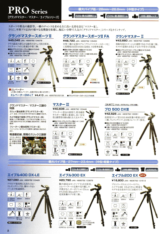 デジタル一眼レフカメラ比較・選び方入門 デジ一.com SLIK(スリック)最新カタログ P008(中型・軽量三脚)
