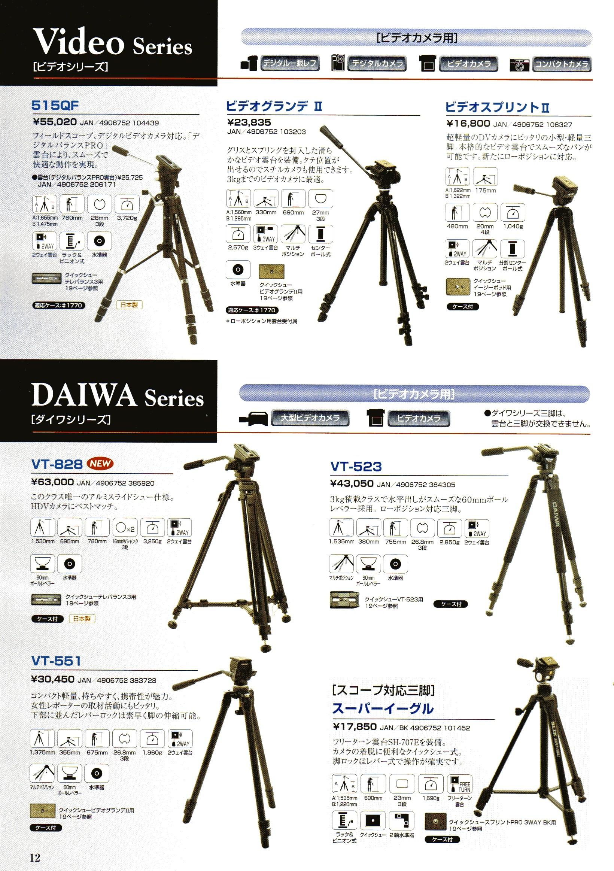 デジタル一眼レフカメラ比較・選び方入門 デジ一.com SLIK(スリック)最新カタログ P012(ビデオ三脚)