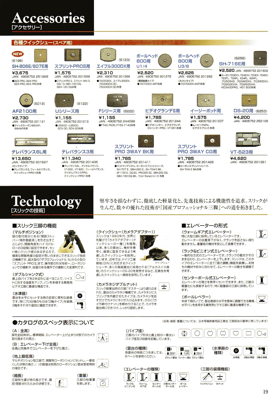 SLIK(スリック)最新カタログ P019(クイックシュー)