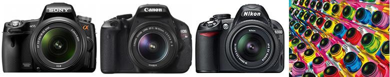 初心者用デジタル一眼レフカメラ比較入門ベスト4 左からSONY α55 CANON EOS KissX5 NIKON D3100 PENTAX K-r